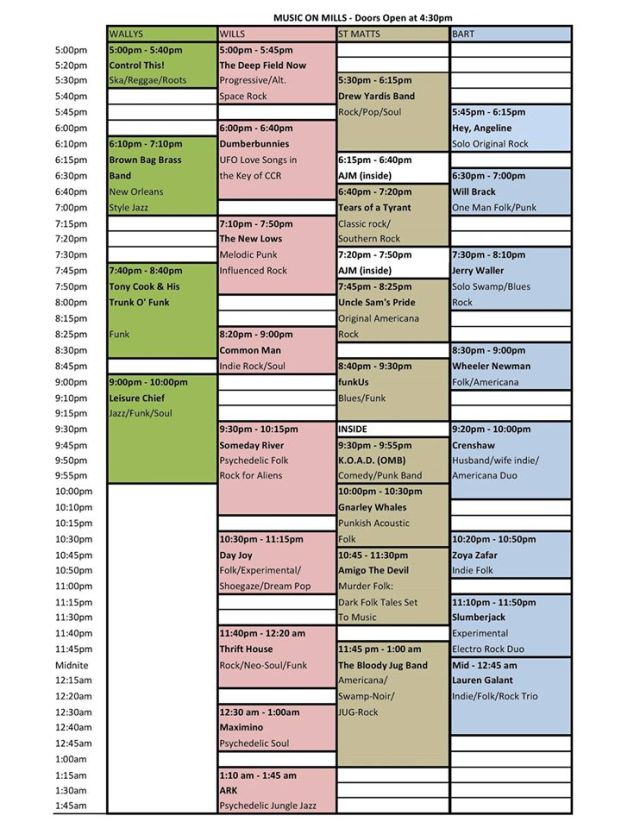 Mills50 Music on Mills Schedule